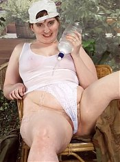 Boyish Look Fat Amateur Teasing Pussy on White Panties