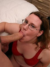 Demure plumper Lorelie throws her inhibitions aside as she goes down to give her macho hottie a blowjob