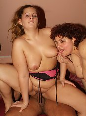 Chubby girls Victoria and Gaborne hook up with a stud and experience simultaneous pleasure in this threesome