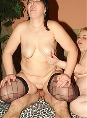 Chubby matures Rosalie and Lisa got their fat pussies licked and screwed in this raunchy threesome