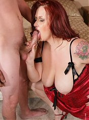Redhead Staci Stacked gets her big tits fucked in this cum dripping scene.